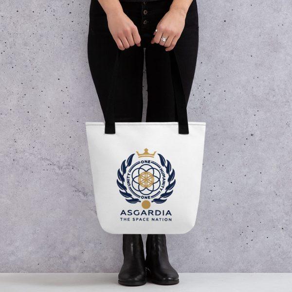 Asgardian Tote Bag, White Base, Black Strap