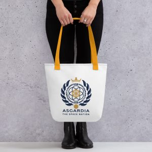 Asgardian Tote Bag, White Base, Yellow Strap