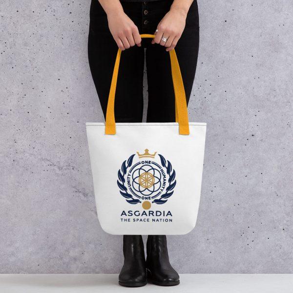 Asgardian Tote Bag, White Base, Yellow Strap