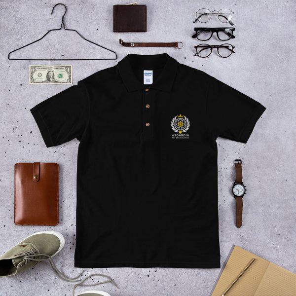 Asgardian Embroidered Polo Shirt, Black