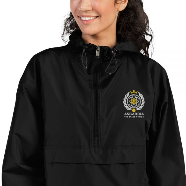 Asgardian Embroidered Champion Packable Jacket, Black, Close-Up