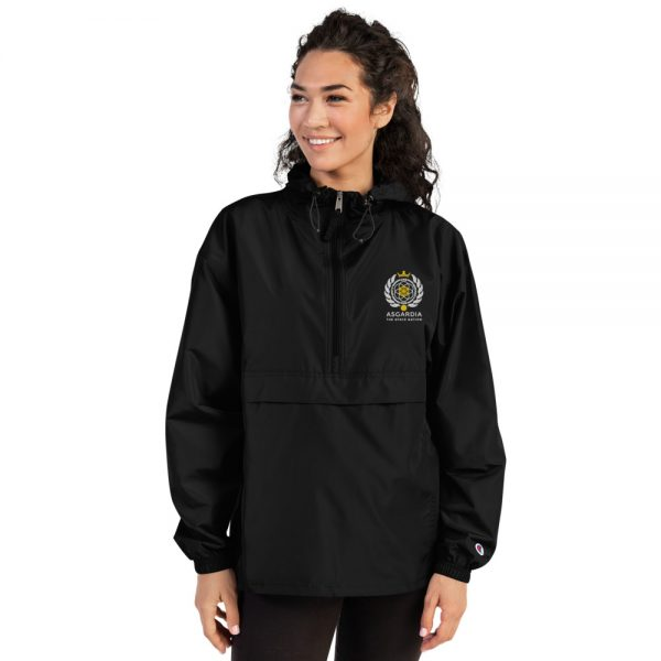 Asgardian Embroidered Champion Packable Jacket, Black