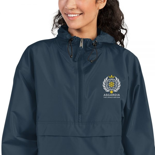 Asgardian Embroidered Champion Packable Jacket, Navy, Close-up