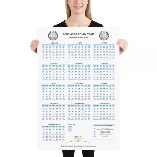 Large Asgardian Calendar, Vertical, Light