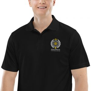 Asgardian Men's Champion Performance Polo, Black, Close-Up