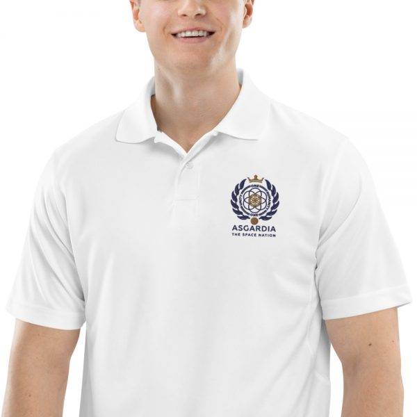 Asgardian Men's Champion Performance Polo, White, Close-Up