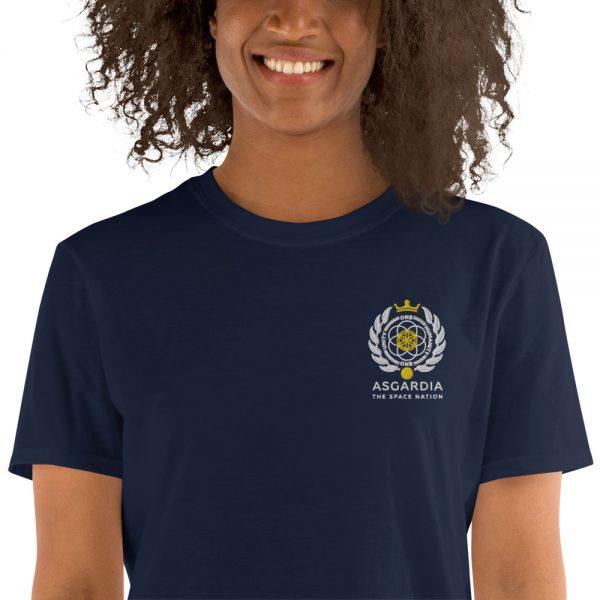 Asgardian Unisex Short Sleeve T-Shirt, Navy Blue, Close-Up