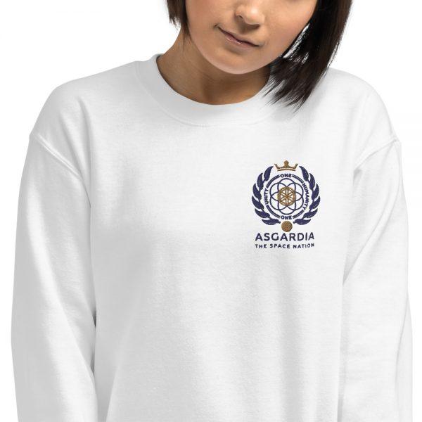 Asgardian Unisex Sweatshirt, White, Close-Up