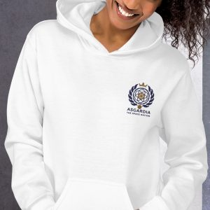 Asgardian Unisex Hoodie, White, Close-Up