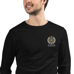 Asgardian Unisex Long Sleeve Shirt, Black, Close-Up