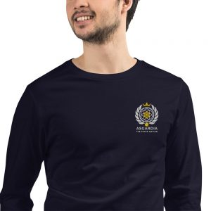 Asgardian Unisex Long Sleeve Shirt, Navy Blue, Close-Up