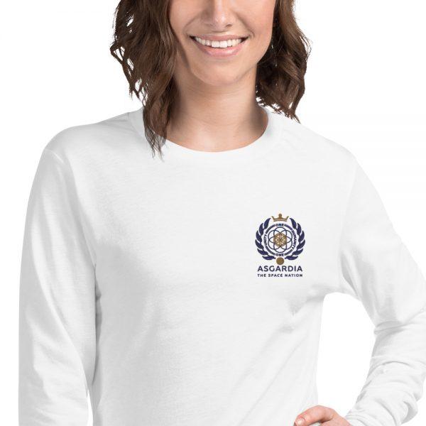 Asgardian Unisex Long Sleeve Shirt, White, Close-Up