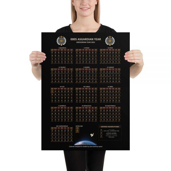 Large Asgardian Calendar, Vertical, Dark